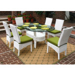 7 Piece Oval Wicker Dining Set, Signature Style, 3 Colors - WHITE