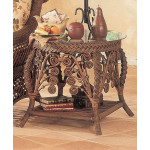 Victorian Wicker End Table  - BROWN WASH