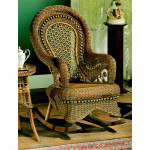 Country Natural Rattan Framed Wicker Rocker - BROWN WASH