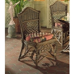 Victorian Wicker Dining Side Chair - BROWN WASH