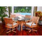 (5) Piece Bay Point Dining Set with Tilt/Swivel Castered Dining Chairs - SIENNA
