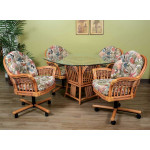 (5) Piece Manchester Rattan Dining Set with Casters (3) Colors - ANTIQUE HONEY