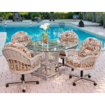 (5) Piece Manchester Rattan Dining Set with Casters (3) Colors - RUSTIC DRIFTWOOD