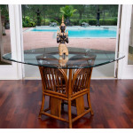 (5) Piece Manchester Rattan Dining Set with Casters (3) Colors - SQ. ROUND GLASS TOP