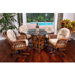 (5) Piece Manchester Rattan Dining Set with Casters (3) Colors - SIENNA