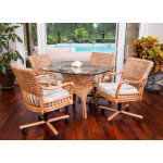 (5) Piece Bay Point Dining Set with Tilt/Swivel Castered Dining Chairs - ANTIQUE HONEY