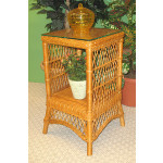 Small Ashley Wicker Table with Glass Top (4 colors) - CARAMEL