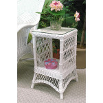 Small Ashley Wicker Table with Glass Top (4 colors) - WHITE