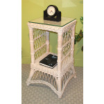 Small Ashley Wicker Table with Glass Top (4 colors) - WHITEWASH