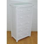 Augusta 5- Drawer Dresser with Glass Top (W + WW --Here 11/10/21 - WHITE