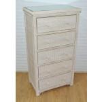 Augusta 5- Drawer Dresser with Glass Top (W + WW --Here 11/10/21 - WHITE WASH