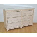 Augusta 6- Drawer Dresser with Glass Top ( W + WW Here 11/10/21 - WHITE WASH