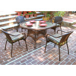 "Resin Dining Set, 48"" Round - ANTIQUE BROWN"