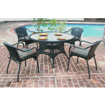 "Resin Dining Set, 48"" Round - BLACK"