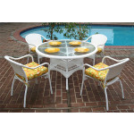 "Resin Dining Set, 48"" Round - WHITE"