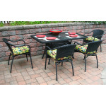 Resin Wicker Dining Set, 60 x 36 Rectangular - BLACK