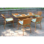 Resin Wicker Dining Set, 60 x 36 Rectangular - GOLDEN HONEY