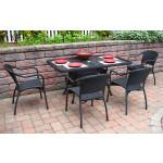 Resin Wicker Dining Set 60 x 36 Rectangular - BLACK