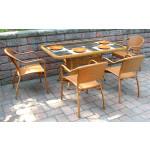 Resin Wicker Dining Set 60 x 36 Rectangular - GOLDEN HONEY