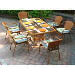 60x36 Rectangular Dining Set with 6-Cushioned Bistro Chairs - GOLDEN HONEY