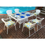 60x36 Rectangular Dining Set with 6-Cushioned Bistro Chairs - WHITE
