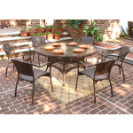 "Resin Wicker Dining Set 60"" Round - ANTIQUE BROWN"