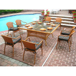 "ResinWicker Dining Set 66"" Square with Cushons - GOLDEN HONEY"