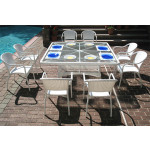 Resin Wicker Dining Set 66' Square, No Cushions - WHITE