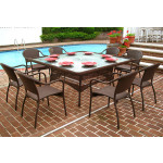 Resin Wicker Dining Set 66' Square, No Cushions - ANTIQUE BROWN
