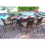 """Resin Wicker Dining Set, 72"""" Oval - ANTIQUE BROWN"""