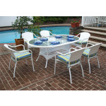 """Resin Wicker Dining Set, 72"""" Oval - WHITE"""