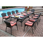 96x42 Rectangular Resin Wicker Dining Set With Cushions - BLACK