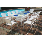 96 x 42 Rectangular Resin Wicker Dining Set No Cushions - WHITE