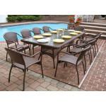 96 x 42 Rectangular Resin Wicker Dining Set No Cushions - ANTIQUE BROWN