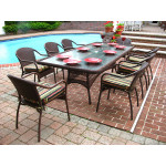 "Resin Wicker Dining Set 96"" Rectangular with Cushions - ANTIQUE BROWN"