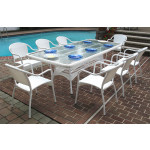 "Resin Wicker Dining Set, 96"" Rectangular No Cushions - WHITE"
