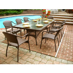 "Resin Wicker Dining Set, 96"" Rectangular No Cushions - ANTIQUE BROWN"