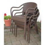 Resin Wicker Bistro Chair - ANTIQUE BROWN STACK