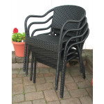 Resin Wicker Bistro Chair - BLACK STACK