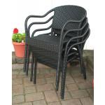 Resin Wicker Bistro Chair, Min 2 - BLACK STACK