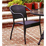 Resin Wicker Bistro Chair - BLACK