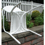 Resin Wicker Bistro Chair - WHITE BOTTOM