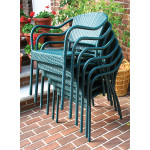 Resin Wicker Bistro Chair - HUNTER GREEN STACK