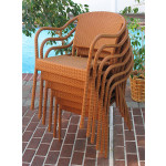 Resin Wicker Bistro Chair - GOLDEN HONEY STACK