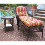 Belair Resin Wicker Chaise Lounge with Seat & Back Cushions - ANTIQUE BROWN