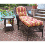 Belair Resin Wicker Chaise Lounge with Seat & Back Cushions, Antique Brown -