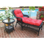 Belair Resin Wicker Chaise Lounge with Seat & Back Cushions - BLACK