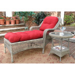 Belair Resin Wicker Chaise Lounge with Seat & Back Cushions - DRIFTWOOD