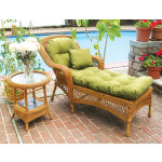 Belair Resin Wicker Chaise Lounge with Seat & Back Cushions, Golden Honey -