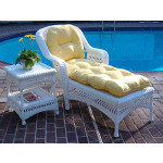 Belair Resin Wicker Chaise Lounge with Seat & Back Cushions, White -
